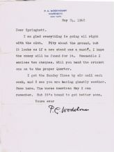 PG Wodehouse Typed Letter Signed